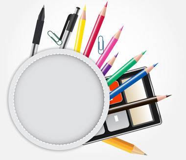School theme background with different tools. Vector illustratio